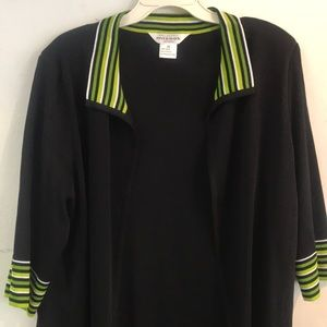Exclusively Misook Woman Black Green Cardigan 1X